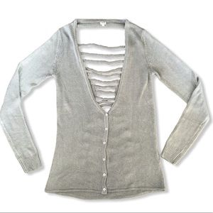UNIQ Grey Button Up Long Sleeve V Neck Sweater